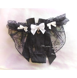 Daddys Girl Lingerie Ruffles Black Lace Thong Pantie White Bow Moon Bow