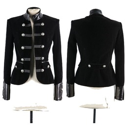 Women Gothic Coat Black Leather Accents Double Breasted Women Velvet Jacket