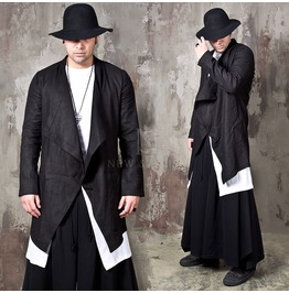 Ruffle Shawl Linen Black Long Jacket 328