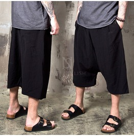 Wrikled Black Baggy Crop Pants 207