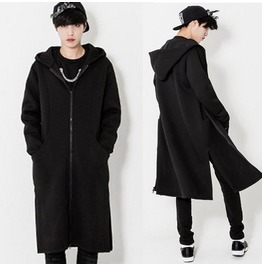 Mens Fashion Zip Up Knee Length Casual Hooded Loose Outwear Coats