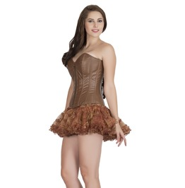 Brown Leather Zipper Gothic Burlesque Bustier Waist Training Overbust Corset