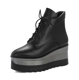 Winter Punk Imitation Leather Lace Up Black Platform Ankle Women Boots