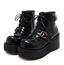 Black Imitation Leather Goth Punk Heel Platform Lace Up Women Shoes Boots