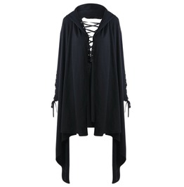 Solid Black Lace Up Hollow Out Goth Women Long Sleeves Sweatshirt Hoodie
