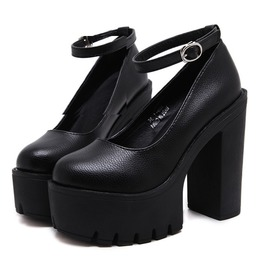 Goth Harajuku Thick Heels Imitation Leather Buckle Womens Shoes