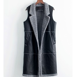 Long Sleeveless Vegan Leather Women Vest