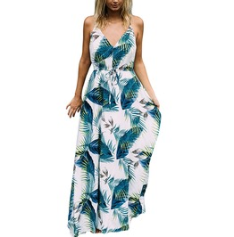 Spaghetti Strap V Neck Palm Leaves Floral Print Boho Long Maxi Dress
