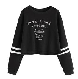 """First I Need Coffee"" Vegan Women Sweatshirt"
