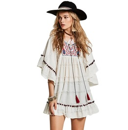 Butterfly Sleeve Above Knee Ruffles Embroidered Tassel Design Boho Dress