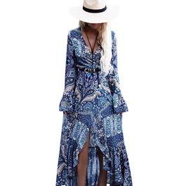 Floral Geometric Print V Neck Chiffon Ruffle Boho Maxi Dress