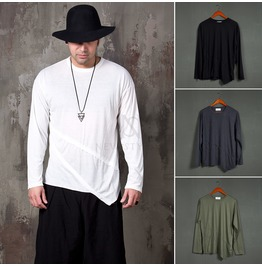 Double Diagonal Hem Lined Long Sleeves T Shirts 848