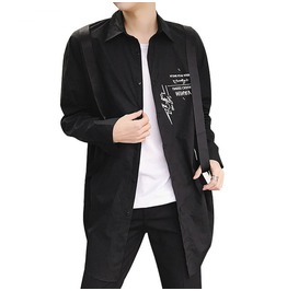Men's Letter Letter Print Long Sleeve Casual Shirt Cardigan Jacket