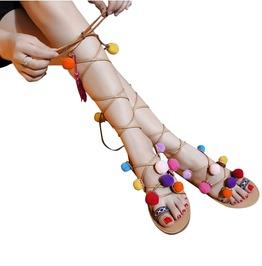 Women's Pom Pom Cross Strap Flat Sandals