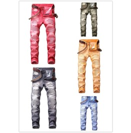 Men's Ripped Skinny Biker Hole Jeans Destroyed Frayed Slim Fit Denim Pants