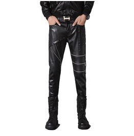 Punk Slim Fit Imitation Leather Men Pants