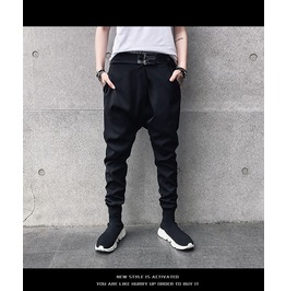 Punk Loose Elastic Mens Cross Harem Pants
