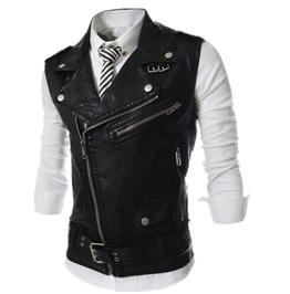 Biker Punk Diagonal Zipper Leather Perfecto Men Vest