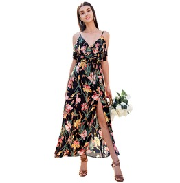 V Neck Ruffle Floral Print Backless Sleeveless Split Boho Maxi Dress