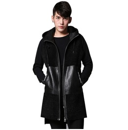 Sleeveless Spliced Hooded Thick Man Vest Jacket