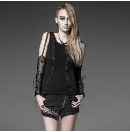 Gothic Black Unique Vintage Cotton Mesh Shirt For Women