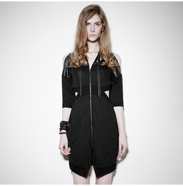 Punk Black Strapless Zippered V Neck Dress For Women
