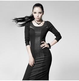 Gothic Black Slim Fit Cotton Long Dress For Women