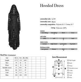 Gothic Black Decadent Hi Low Hooded Dress For Women