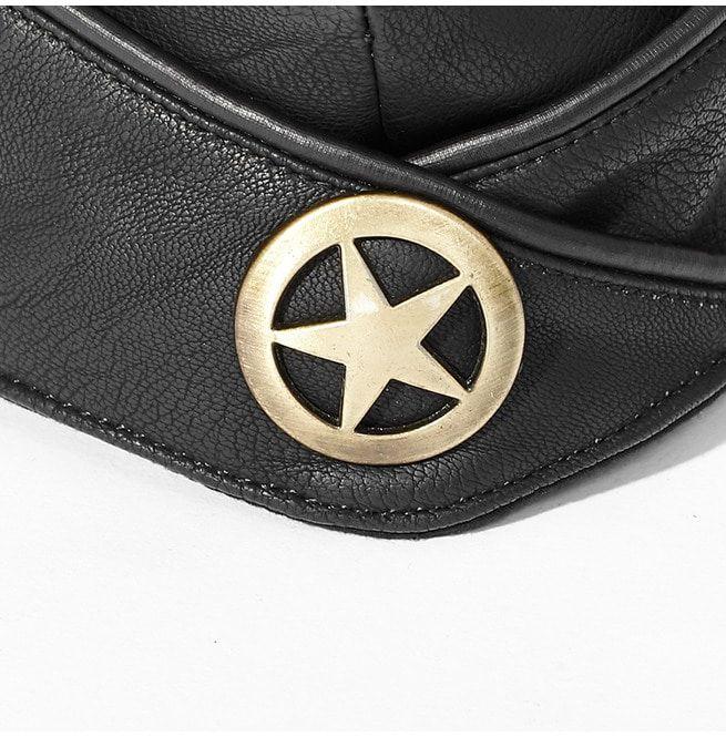 a1323d735 Punk Black Leather Military Hat For Women | Punk Rave