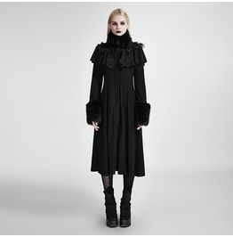 Gothic Black Long Sleeves Fur Accented Coat For Women