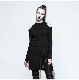 Gothic Black Open Shoulder Long Sweater For Women