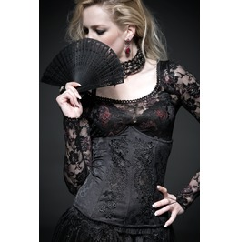 Gothic Black Decorated Jacquard Corset For Women