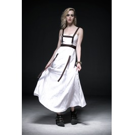 Steampunk White Dress With Brown Leather Body Strap Dress For Women