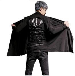 Men's Cardigan Jacket Big Punk Hole Style Gothic Man Slim Fit