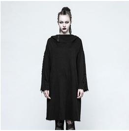 Punk Black Loose Long Sleeves Fleece Hoodie For Women