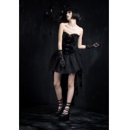 Gothic Black Velvet And Lace Corset With Tail For Women