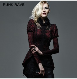 Gothic Black And Red Lace Puffed Sleeves Coat With Fur For Women