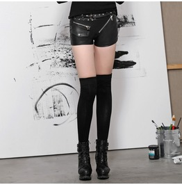 Punk Black Leather Low Cut Shorts With Belt For Women
