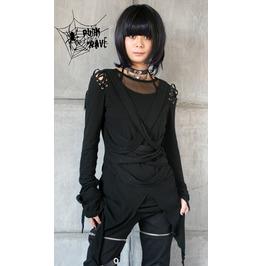 Gothic Black Crisscross Front Long Sleeves T Shirt For Women