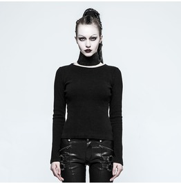 Gothic Black Denim And Mesh Layer Skirt For Women