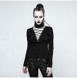Gothic Black Knitted Cotton Long Sleeves T Shirt With Detachable Collar For Women