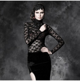 Gothic Black Floral Lace Long Sleeves Spliced T Shirt For Women