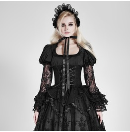 Gothic Lolita Black Woven Corset Style Puff Long Sleeves Blouse For Women