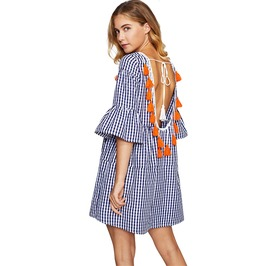 Tassel Tied Open Back Tiered Gingham Dress Blue Plaid Short Boho Dress