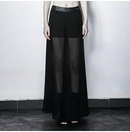 Punk Black Chiffon High Waist Culottes Pants For Women