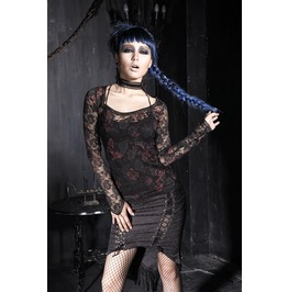 Gothic Black And Red See Thru Floral Lace T Shirt For Women