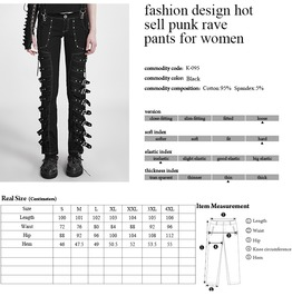 Punk Black Buckled All Over Baggy Pants For Women