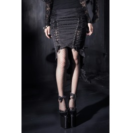 Gothic Black Embroidered Jacquard And Lace Fishtail Skirt For Women