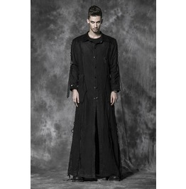 Punk Rock Black Button Up Long Sleeves Long Coat With Safety Pin Details For Men