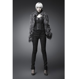 Gothic Black Embroidered Skinny Fit Pants For Women